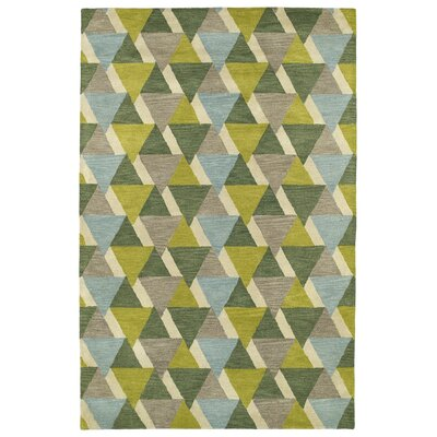 Dresden Hand Tufted Green/Brown Area Rug Rug Size: 36 x 56