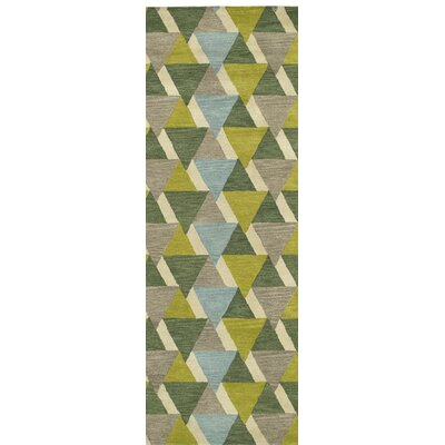 Dresden Hand Tufted Green/Brown Area Rug Rug Size: Runner 26 x 8