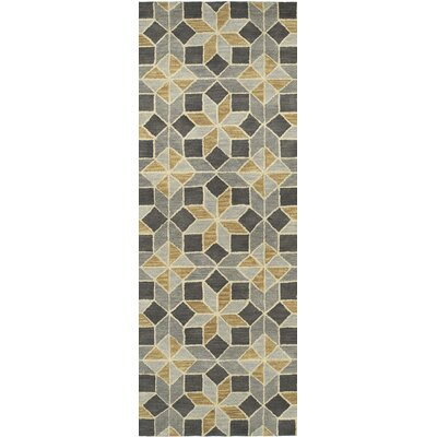 Dresden Hand Tufted Gray/Beige Area Rug Rug Size: Runner 26 x 8