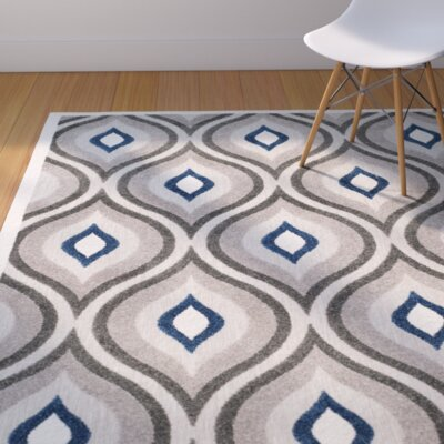Syracuse Gray/Royal Area Rug Rug Size: 3'3