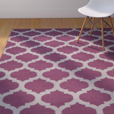Hackbarth Hand-Woven Raspberry Wine/Gray Area Rug Rug Size: 36 x 56
