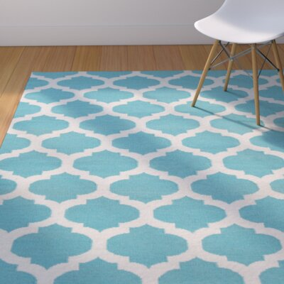 Ash Hand-Woven Light Gray/Sky Blue Area Rug Rug Size: 9 x 13