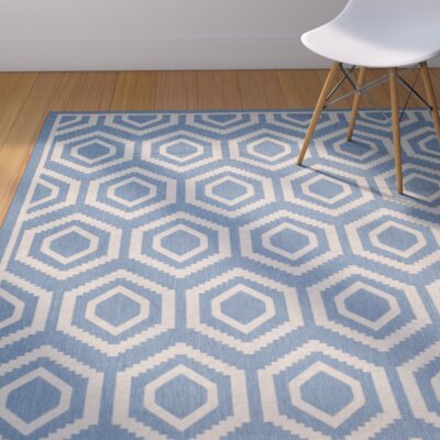 Catharine Blue/Beige Outdoor Area Rug Rug Size: Rectangle 2 x 37