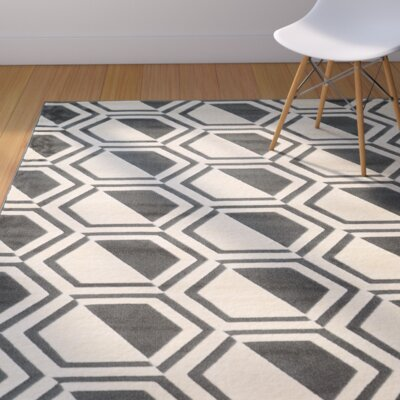 Suzanne Grey/Charcoal Area Rug Rug Size: Rectangle 5 x 7