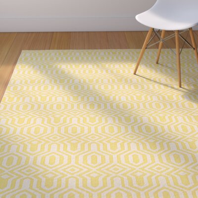 Bingaman Yellow/Cream Area Rug Rug Size: Rectangle 8 x 10