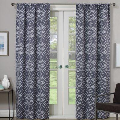 Amarillo Thermaweave Geometric Semi-Sheer Rod Pocket Single Curtain Panel