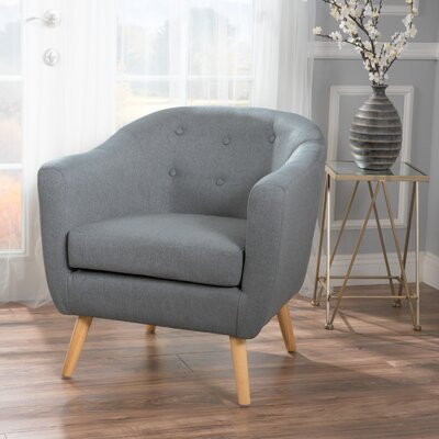 Mira Luna Barrel Chair Upholstery: Charcoal