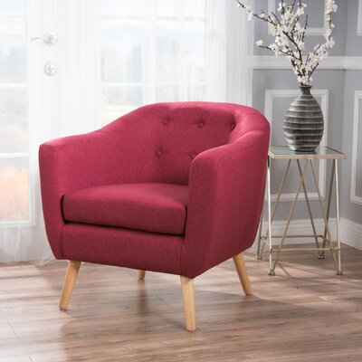 Mira Luna Barrel Chair Upholstery: Deep Red