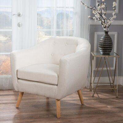 Mira Luna Barrel Chair Upholstery: Ivory
