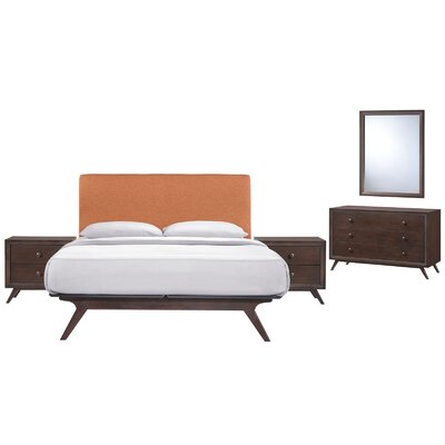 Modesto Platform 5 Piece Bedroom Set Finish: Orange