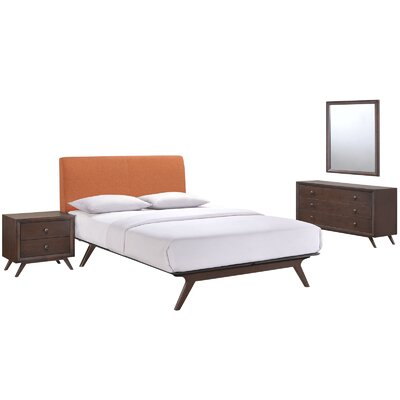 Modesto Platform 4 Piece Bedroom Set Finish: Orange