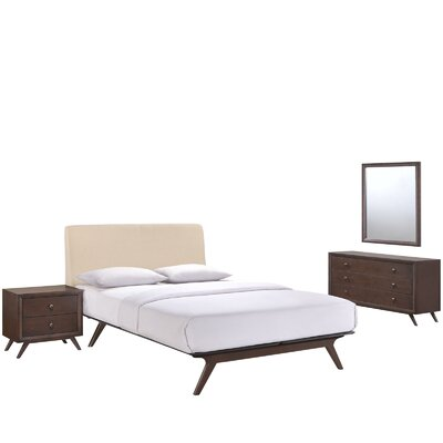 Modesto Platform 4 Piece Bedroom Set Finish: Beige