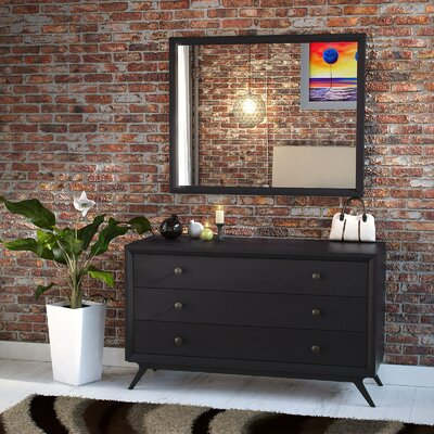 Modesto 3 Drawer Dresser with Mirror Color: Black