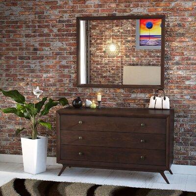 Modesto 3 Drawer Dresser with Mirror Finish: Cappuccino