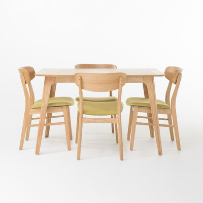Canning 5 Piece Dining Set Table Finish: Natural Oak, Chair Finish: Green Tea