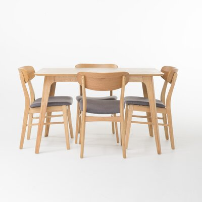 Canning 5 Piece Dining Set Table Finish: Natural Oak, Chair Finish: Dark Gray