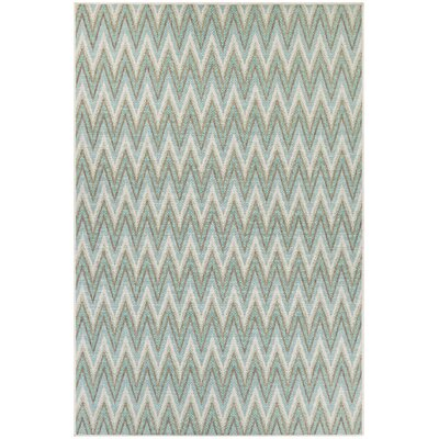 Conesus Blue Chevron Indoor/Outdoor Area Rug Rug Size: Rectangle 76 x 109