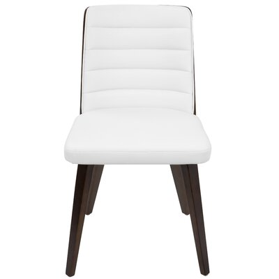 Ellenburg Side Chair Finish: Cherry Wood, Upholstery: White