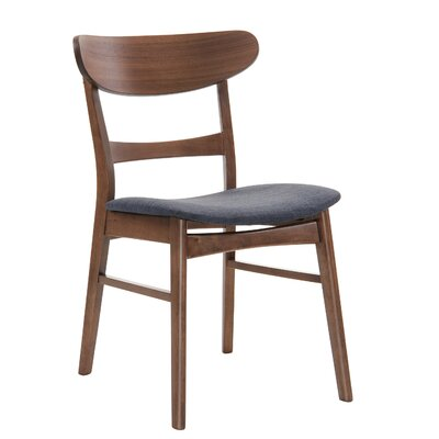 Flavius Wood/Upholstered Side Chair Finish: Walnut/Blue LGLY4675 34643596