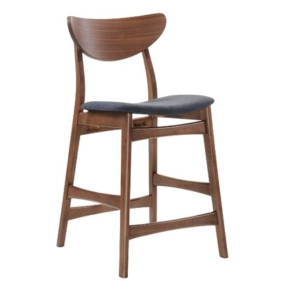 Flavius Bar Stool with Cushion Finish: Walnut / Blue