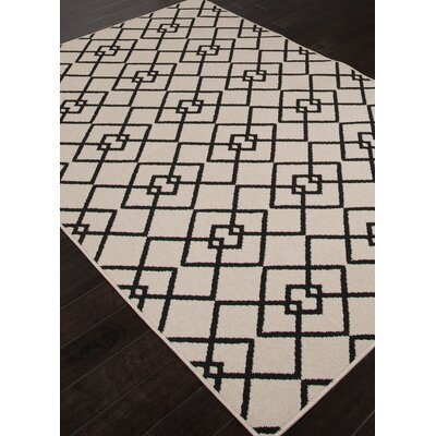 Lila Ivory & Black Indoor/Outdoor Area Rug Rug Size: 53 x 76