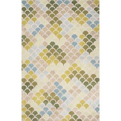 Daisy Hand Tufted Green & Blue Area Rug Rug Size: 5 x 8