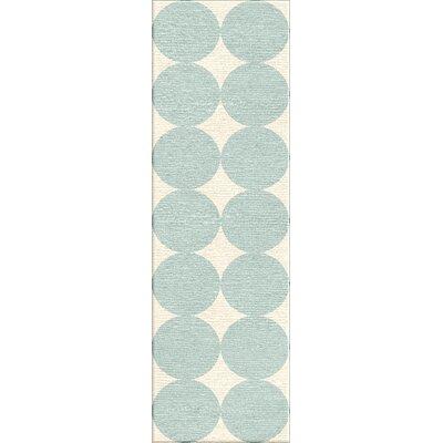 Keira White & Pastel Blue Geometric Area Rug Rug Size: Runner 26 x 8