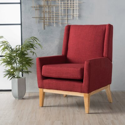 Thierry Wingback Armchair Upholstery: Red