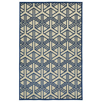 Alterson Machine Woven Navy/Cream Indoor/Outdoor Area Rug Rug Size: Rectangle 5' x 7'6