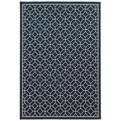 Liza Blue/Ivory Indoor/Outdoor Area Rug Rug Size: 53 x 76