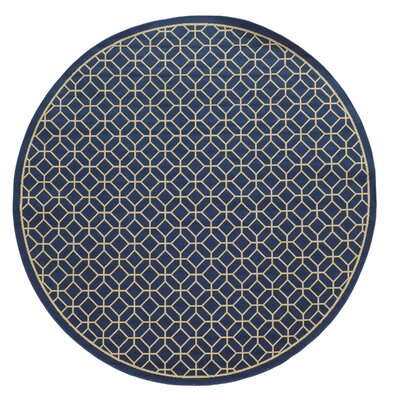 Liza Blue/Ivory Indoor/Outdoor Area Rug Rug Size: Round 710