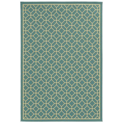 Liza Geometric Blue/Ivory Indoor/Outdoor Area Rug Rug Size: 19 x 39