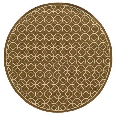 Liza Brown/Ivory Indoor/Outdoor Area Rug Rug Size: Round 710