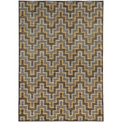 Gigi Geometric Grey/Gold Area Rug Rug Size: 53 x 76