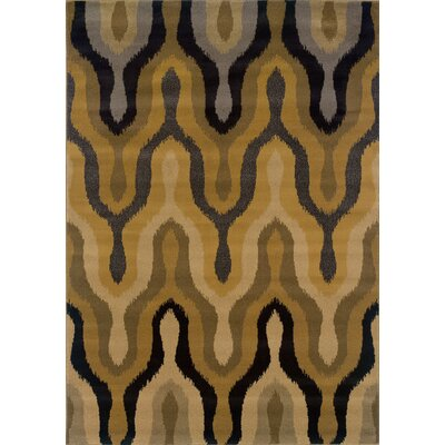 Ingersoll Gold/Black Area Rug Rug Size: Runner 11 x 76