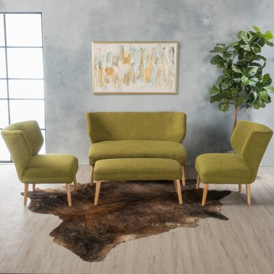 Cortlandt 4 Piece Living Room Set Upholstery: Green