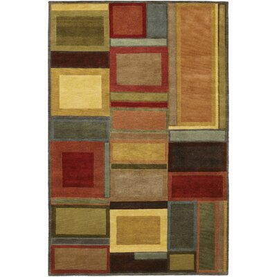 Castile Blocks Hand-Knotted Brown Area Rug