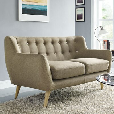 Meggie Loveseat Upholstery: Brown