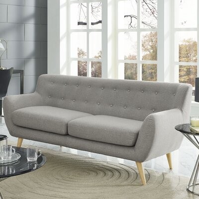 Meggie Loveseat Upholstery: Grey with Solid Buttons