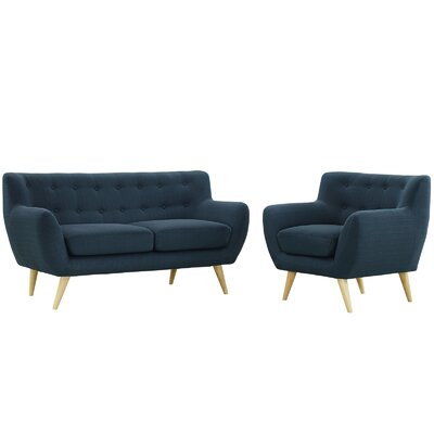 Meggie 2 Piece Blue Living Room Set