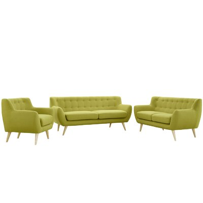 Meggie 3 Piece Living Room Set Upholstery: Wheat