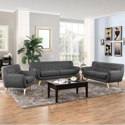 Meggie 3 Piece Solid Living Room Set Upholstery: Grey