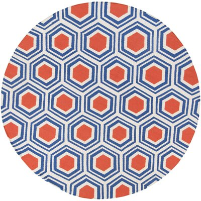 Robby Blue/Red Area Rug Rug Size: Round 8