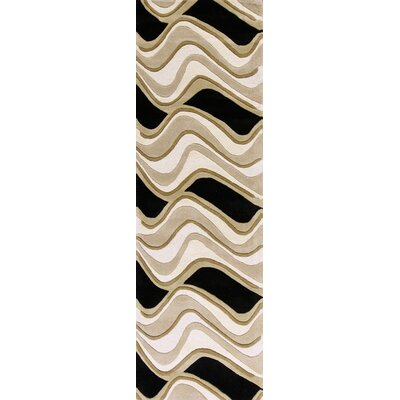 Cheston Black & Beige Waves Area Rug Rug Size: Runner 23 x 76
