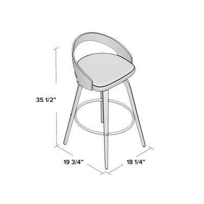Wright 30 inch Swivel Bar Stool Upholstery: White, Finish: Zebra