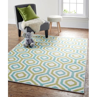 Garland Geo Fret Green Area Rug Rug Size: Rectangle 76 x 10