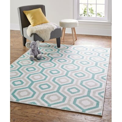 Garland Geo Fret Blue Area Rug Rug Size: Rectangle 76 x 10