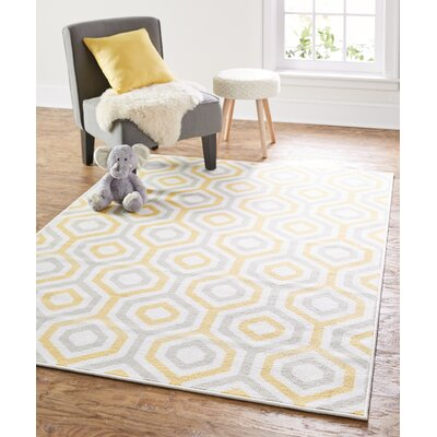 Garland Geo Fret Sunset Yellow Area Rug Rug Size: 5 x 7