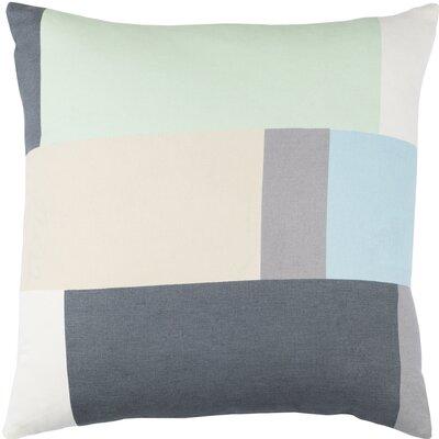 Harlow Cotton Throw Pillow Size: 18 H x 18 W x 4 D, Color: Mint / Charcoal / Beige / Sky Blue
