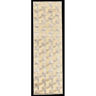 DeRuyter Cream/Silver Area Rug Rug Size: Runner 26 x 8